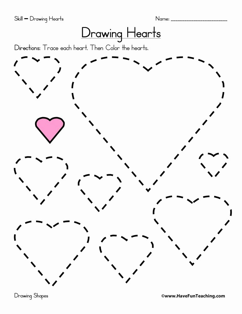 Heart Worksheets for Preschoolers Inspirational Drawing Hearts Worksheet