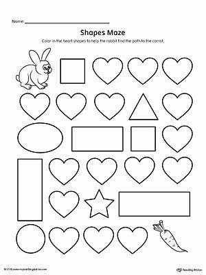 Heart Worksheets for Preschoolers Lovely Heart Shape Maze Printable Worksheet