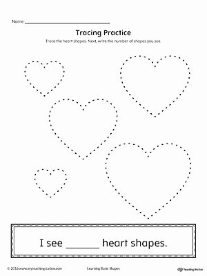 Heart Worksheets for Preschoolers New Geometric Shape Counting and Tracing Heart