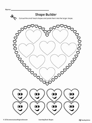 Heart Worksheets for Preschoolers Unique Geometric Shape Builder Worksheet Heart