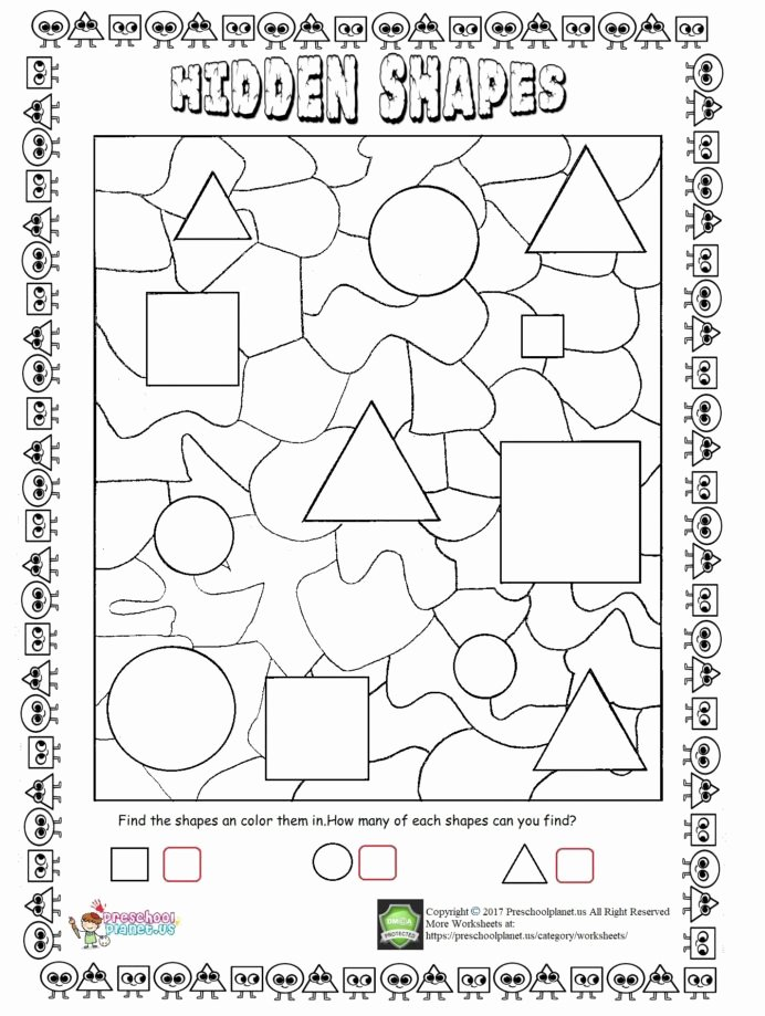 Hidden Objects Worksheets for Preschoolers Best Of Hidden Shapes Worksheet Boyama Kitapları Worksheet