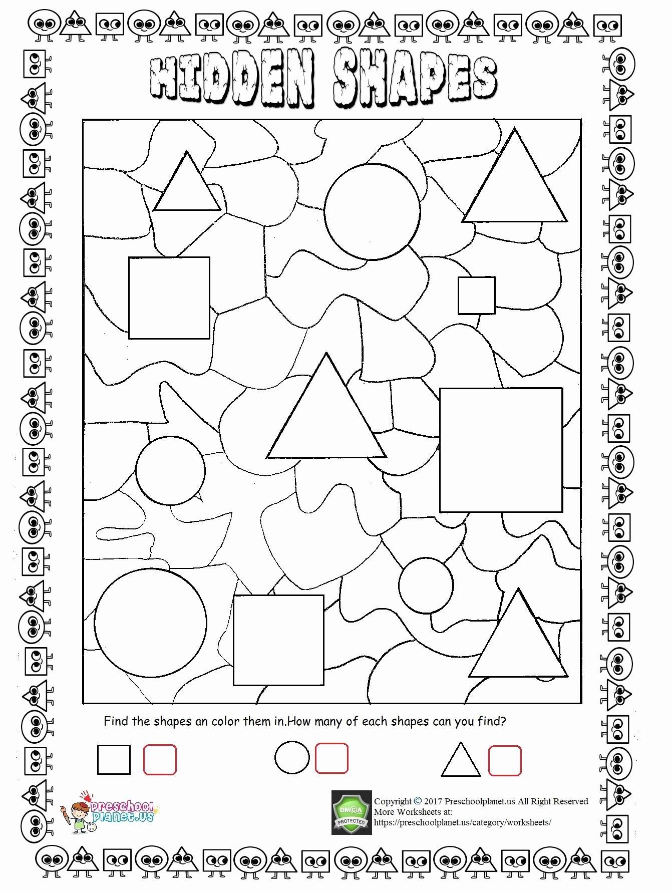 Hidden Picture Worksheets for Preschoolers Awesome Worksheets Hidden Shapes Worksheet Preschoolplanet Create