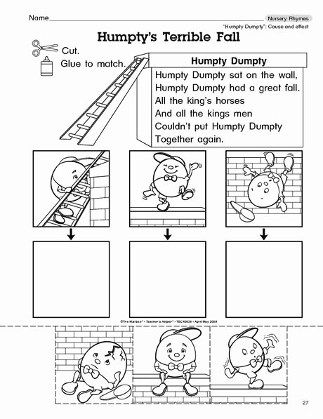 Humpty Dumpty Worksheets for Preschoolers Awesome Humpty S Terrible Fall the Mailbox