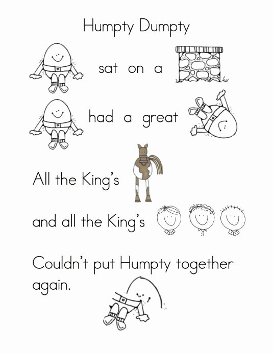 Humpty Dumpty Worksheets for Preschoolers Beautiful More Fun with Nursery Rhymes
