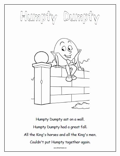 Humpty Dumpty Worksheets for Preschoolers Inspirational Humpty Dumpty Free Printable Allfreeprintable