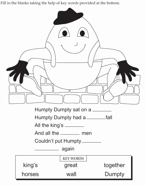 Humpty Dumpty Worksheets for Preschoolers Unique Humpty Dumpty Worksheet Color and Fill In Blanks