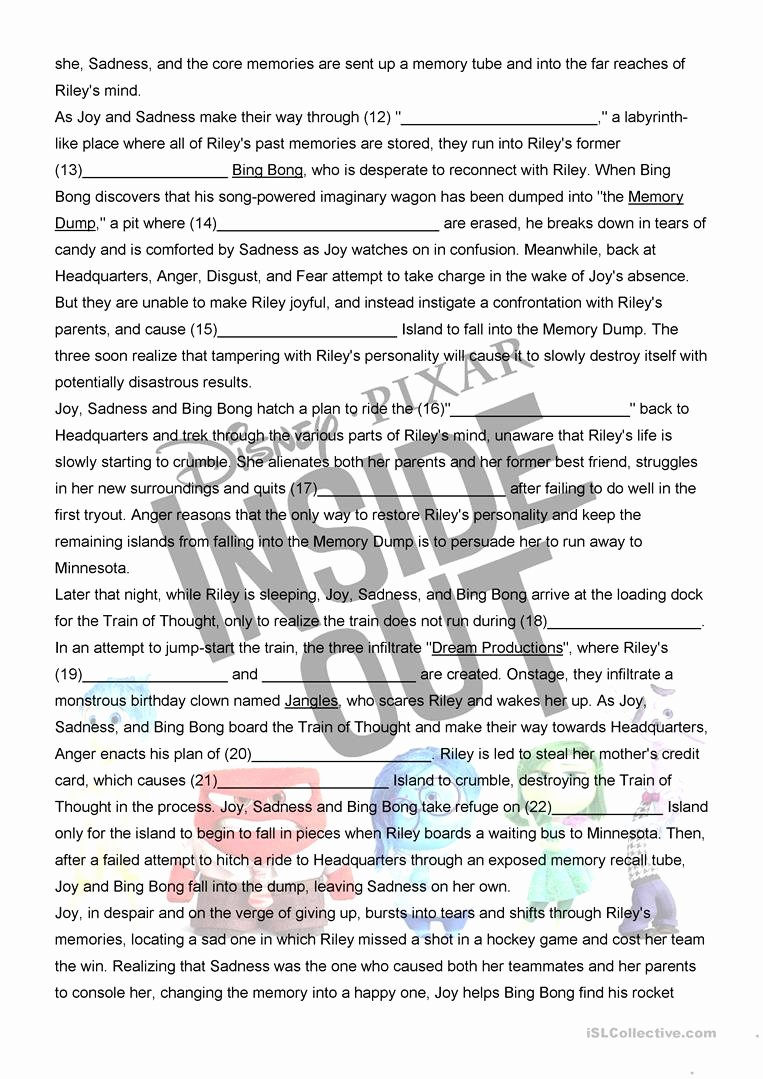 In and Out Worksheets for Preschoolers Awesome Inside Out Movie Worksheet English Esl Worksheets for