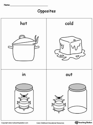 In and Out Worksheets for Preschoolers New Opposites Flashcards Hot Cold In Out