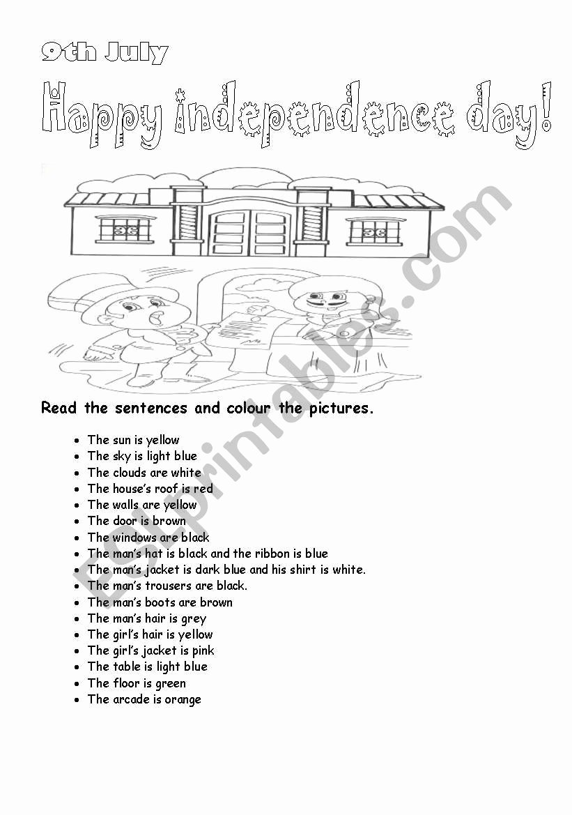 Independence Day Worksheets for Preschoolers Beautiful 9th July Independence Day Independence Day In Argentina