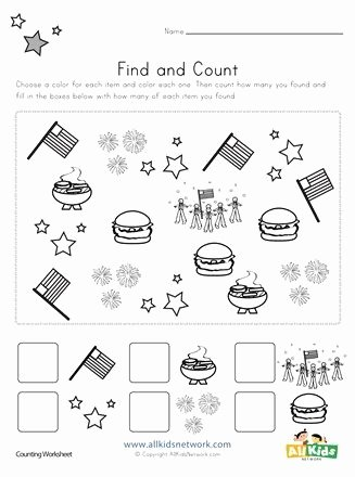 Independence Day Worksheets for Preschoolers Best Of 4th Of July Find and Count Worksheets