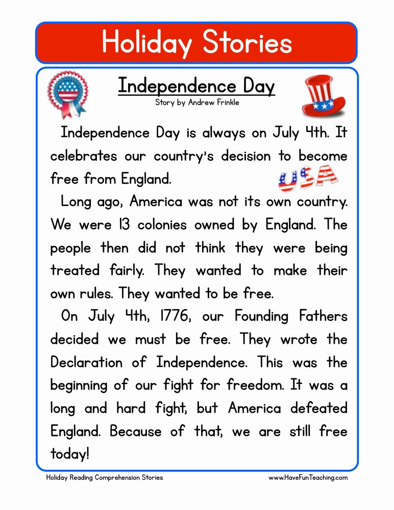 Independence Day Worksheets for Preschoolers Lovely Independence Day Reading Prehension Worksheet