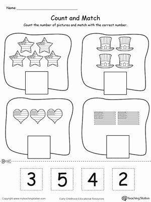 Independence Day Worksheets for Preschoolers New 4th Of July Count and Match