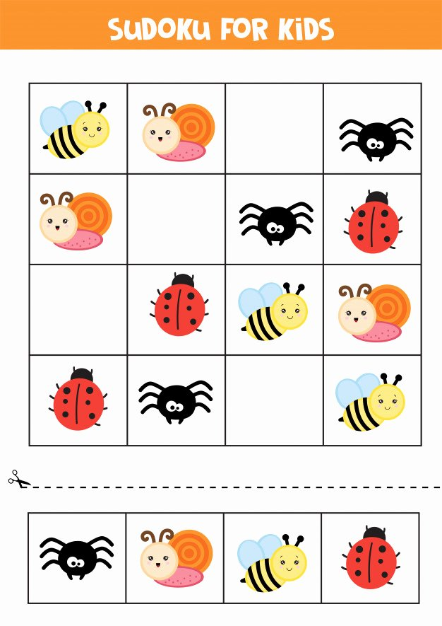 Insects Worksheets for Preschoolers Awesome Educational Worksheet for Preschool Kids Sudoku for Kids