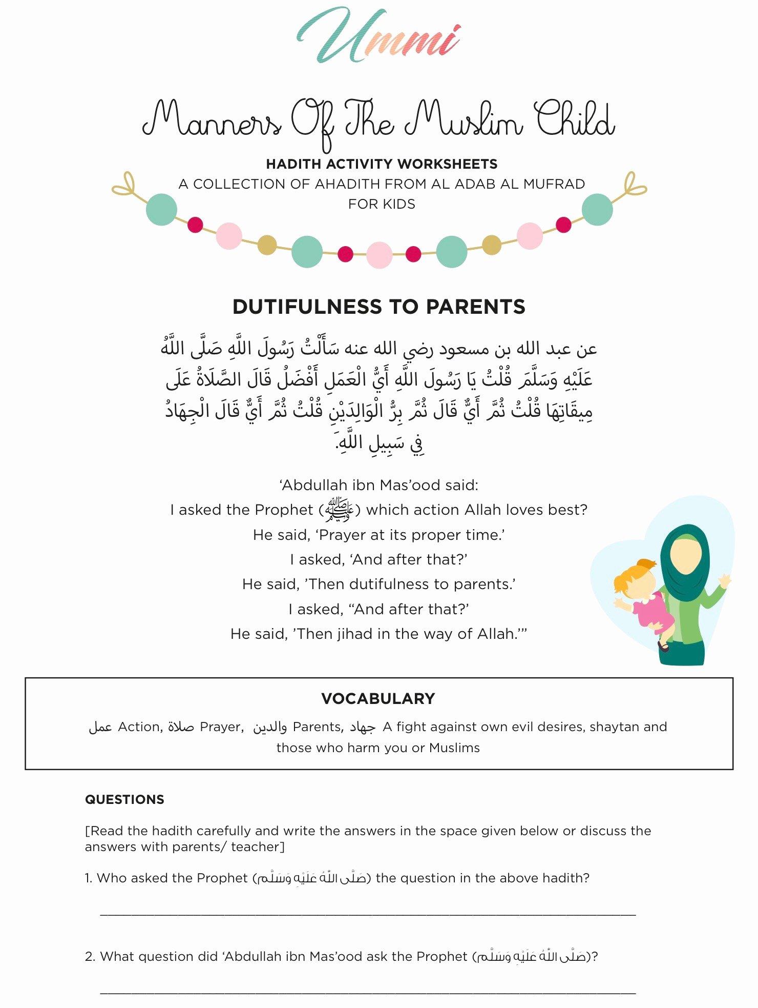 Islamic Worksheets for Preschoolers Beautiful Hadith Activity Worksheets for Kids – Ummi – islamic