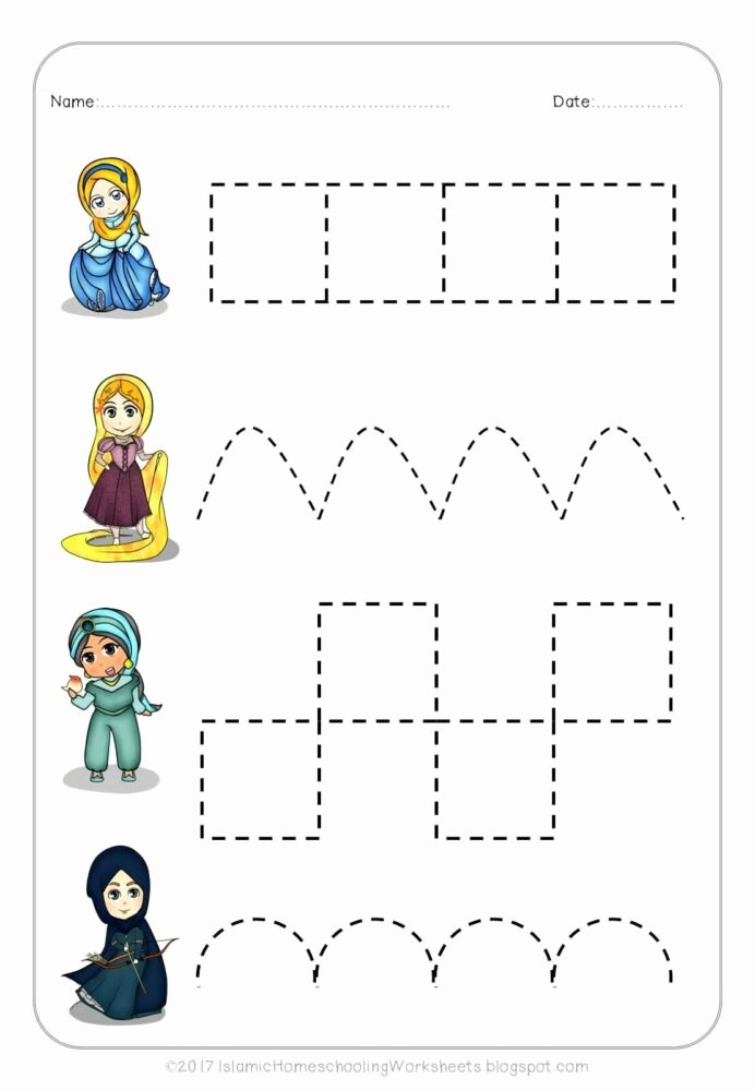 Islamic Worksheets for Preschoolers Inspirational Free Prewriting Practice In Disney Princess Preschool Pack
