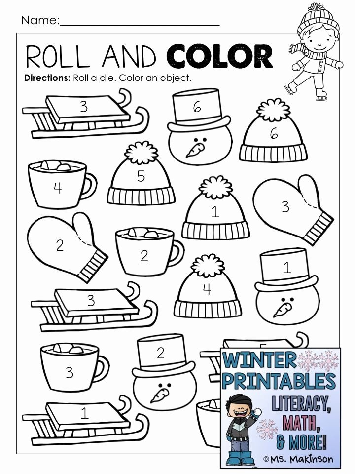 January Worksheets for Preschoolers New Winter Printables Literacy Math & Science