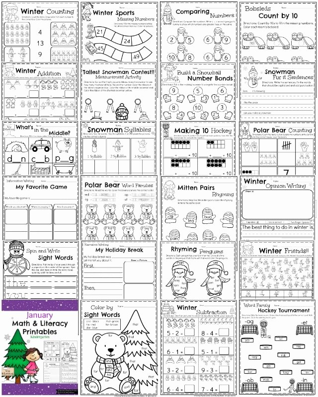 January Worksheets for Preschoolers Unique Worksheet Kindergarten Math and Literacy Printables