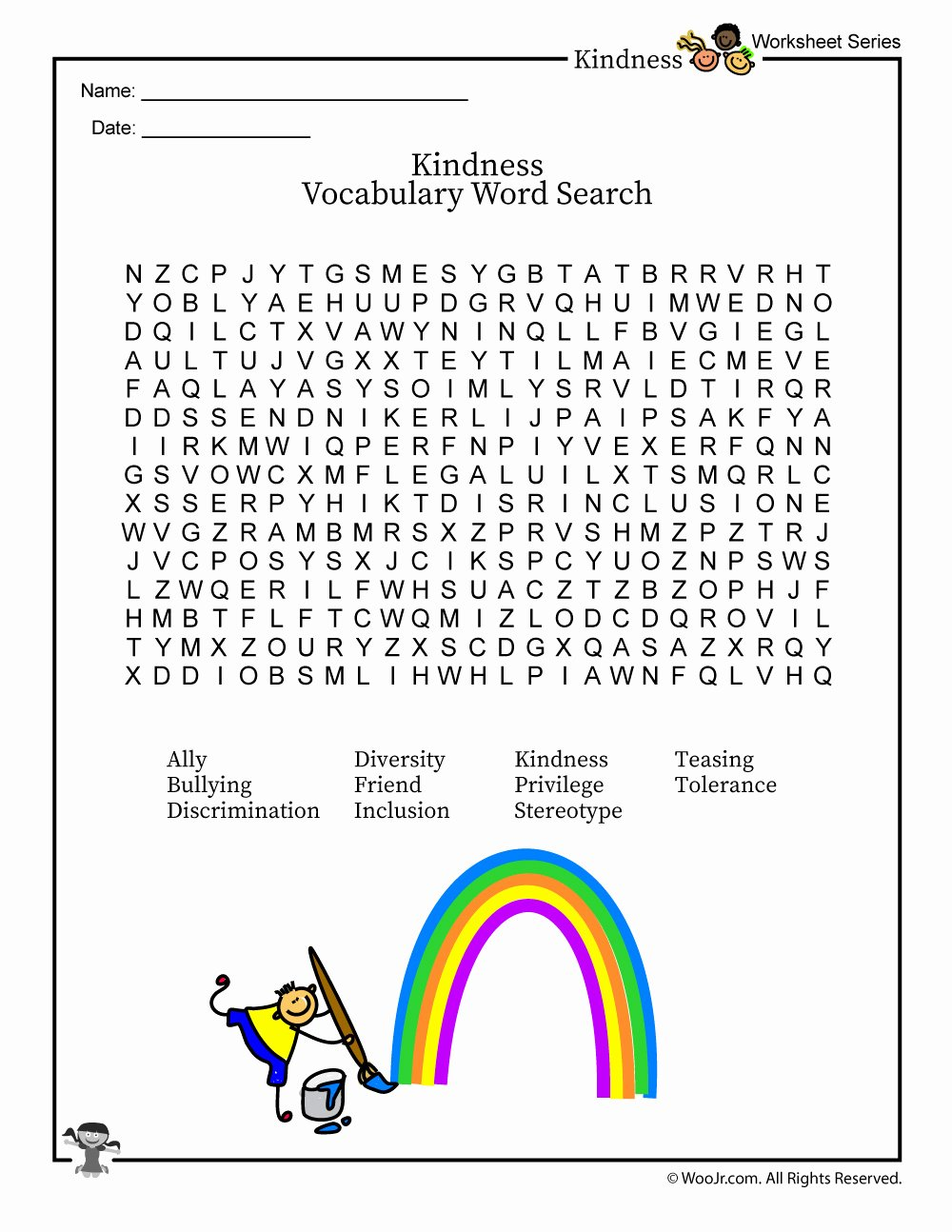 Kindness Worksheets for Preschoolers Fresh Classroom Kindness & Inclusion Vocabulary Word Search