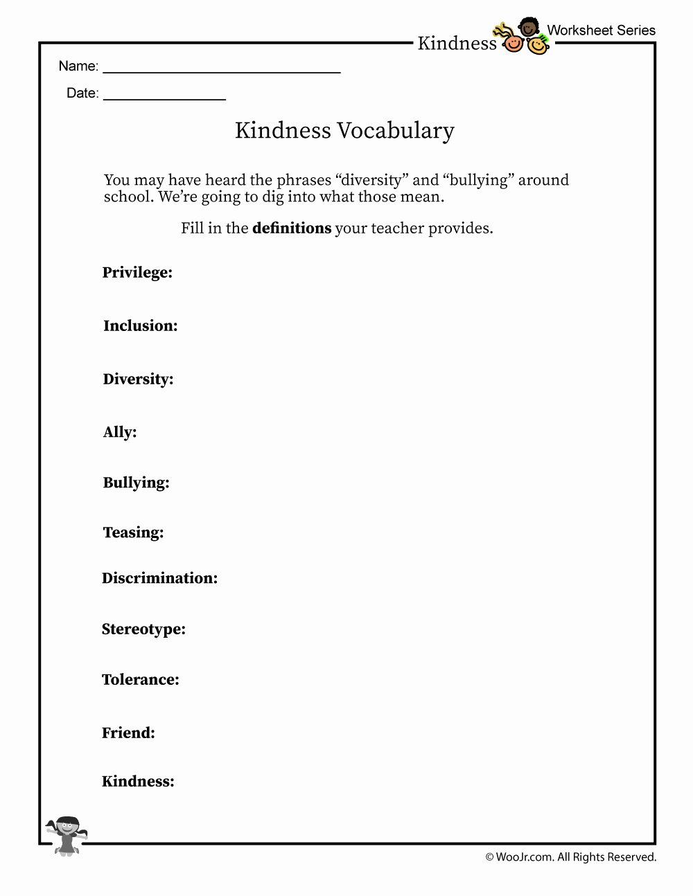 Kindness Worksheets for Preschoolers Inspirational Classroom Kindness & Inclusion Vocabulary Words Worksheet