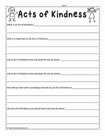 Kindness Worksheets for Preschoolers Lovely Act Of Kindness Worksheetworksheets