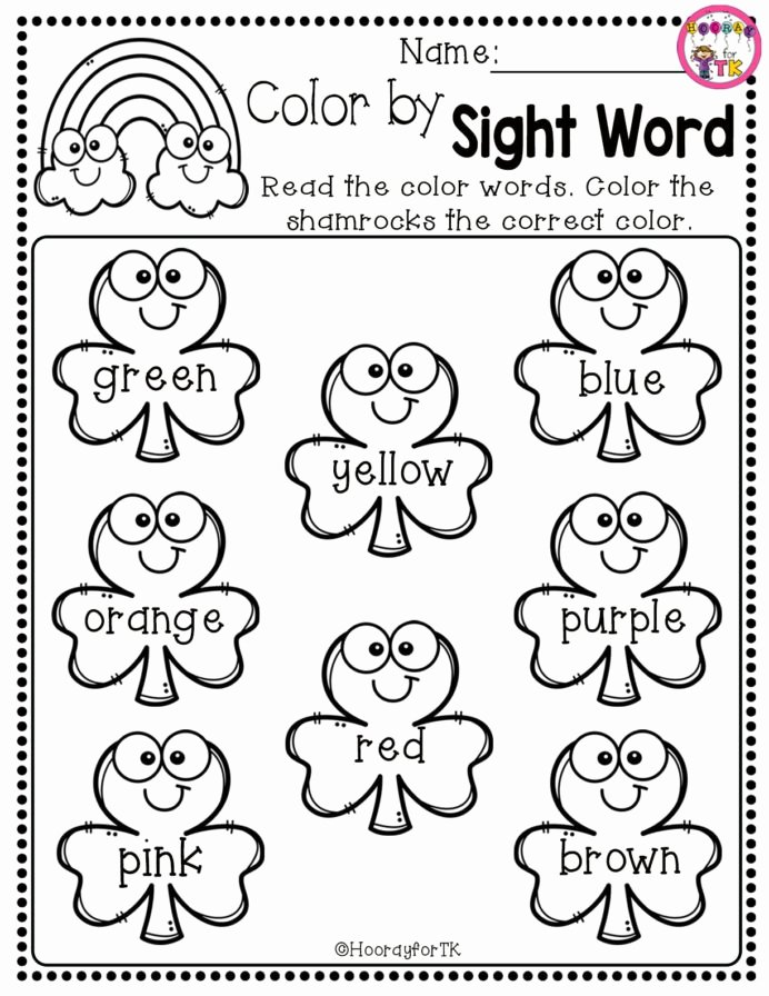 Kumon Math Worksheets for Preschoolers Fresh Worksheet Just In Time for St Shamrock Color by Sight Word