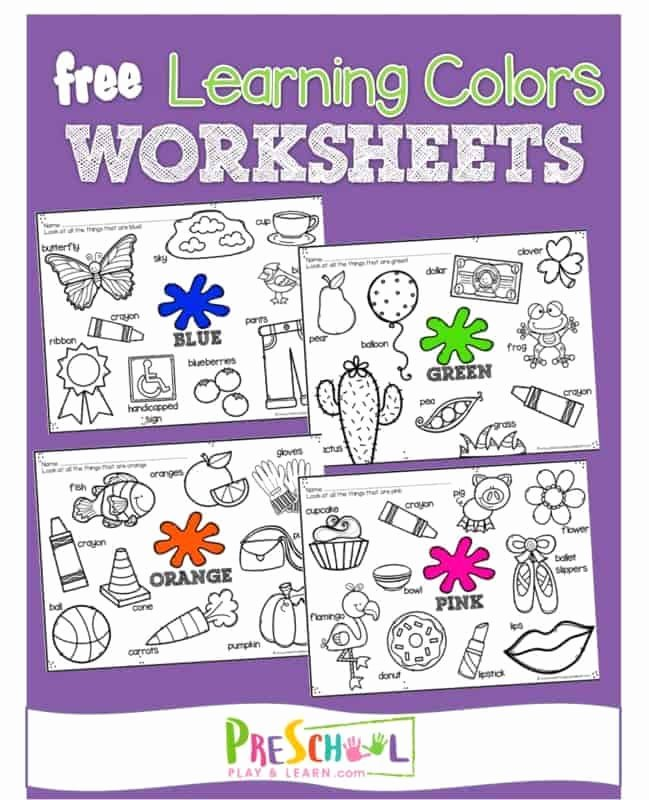 Learning Colors Worksheets for Preschoolers Beautiful Free Learning Colors Coloring Pages