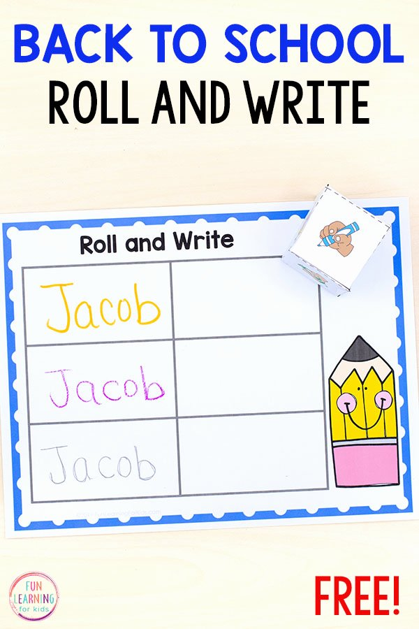 Learning to Write Your Name Worksheets for Preschoolers Best Of Roll and Write Your Name Activity for Back to School