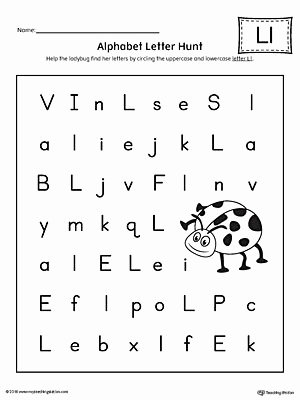 Letter A Worksheets for Preschoolers Inspirational Alphabet Letter Hunt Letter L Worksheet