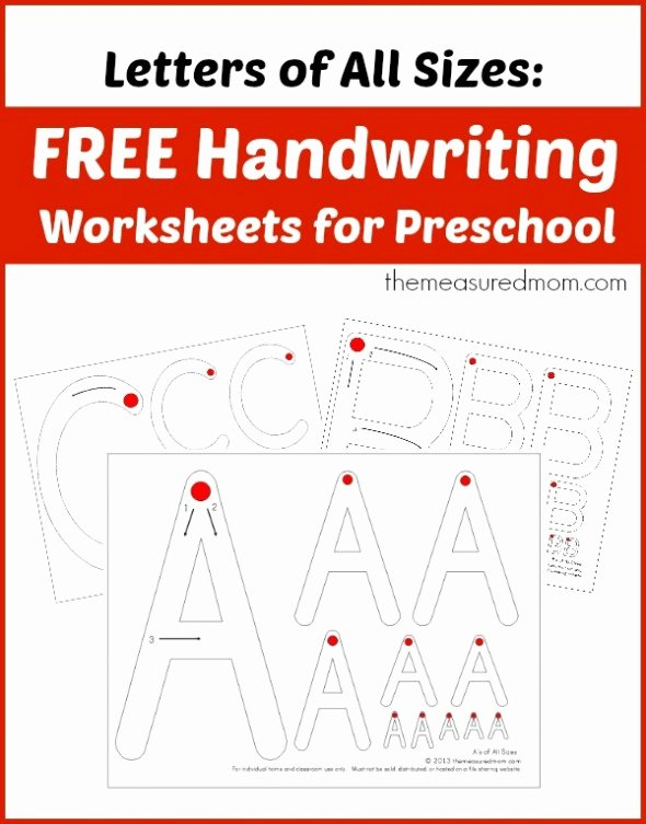 Letter A Writing Worksheets for Preschoolers Unique Level 1 Handwriting Worksheets Uppercase the Measured Mom