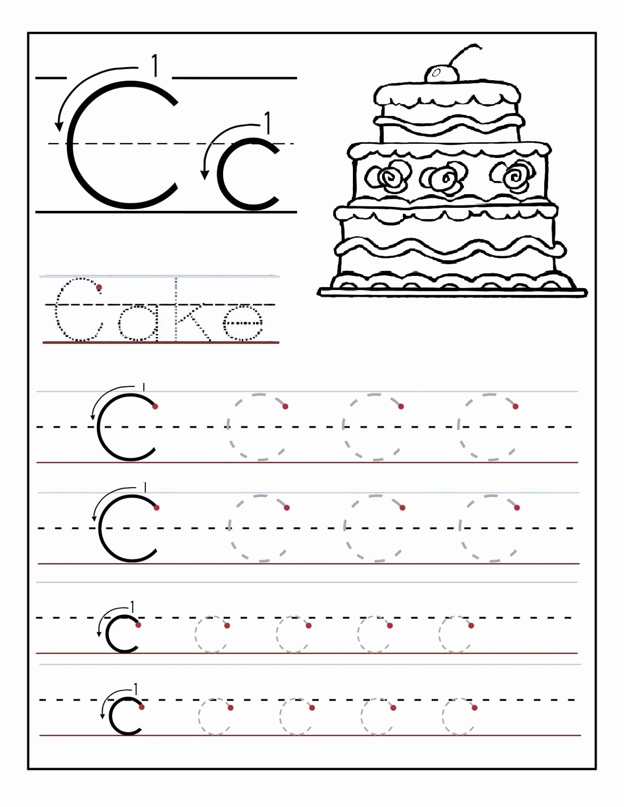 Letter C Tracing Worksheets for Preschoolers Best Of Trace the Letter C Worksheets