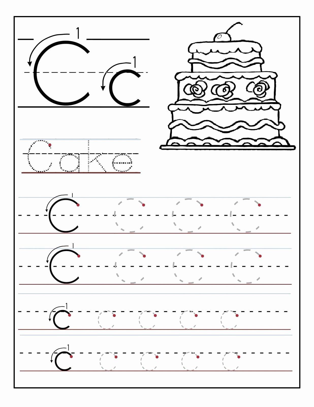 Letter C Tracing Worksheets for Preschoolers Best Of Trace the Letter C Worksheets