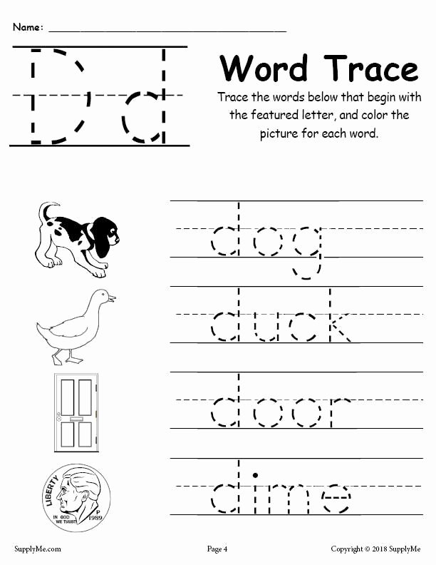 Letter D Tracing Worksheets for Preschoolers Beautiful Letter D Words Alphabet Tracing Worksheet