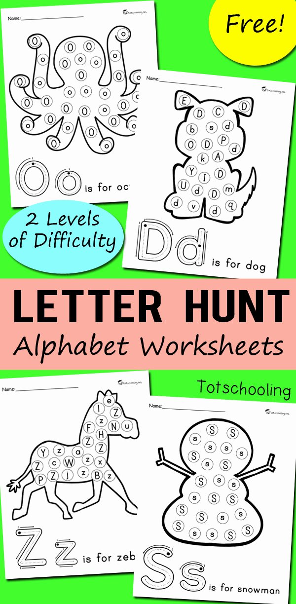 Letter Find Worksheets for Preschoolers Awesome Alphabet Letter Hunt Worksheets