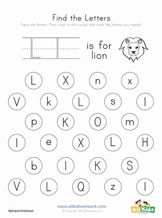 Letter Find Worksheets for Preschoolers Fresh Find the Letter L Worksheet