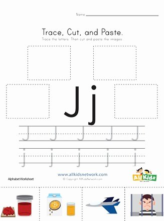 Letter J Worksheets for Preschoolers Awesome Trace Cut and Paste Letter J Worksheet