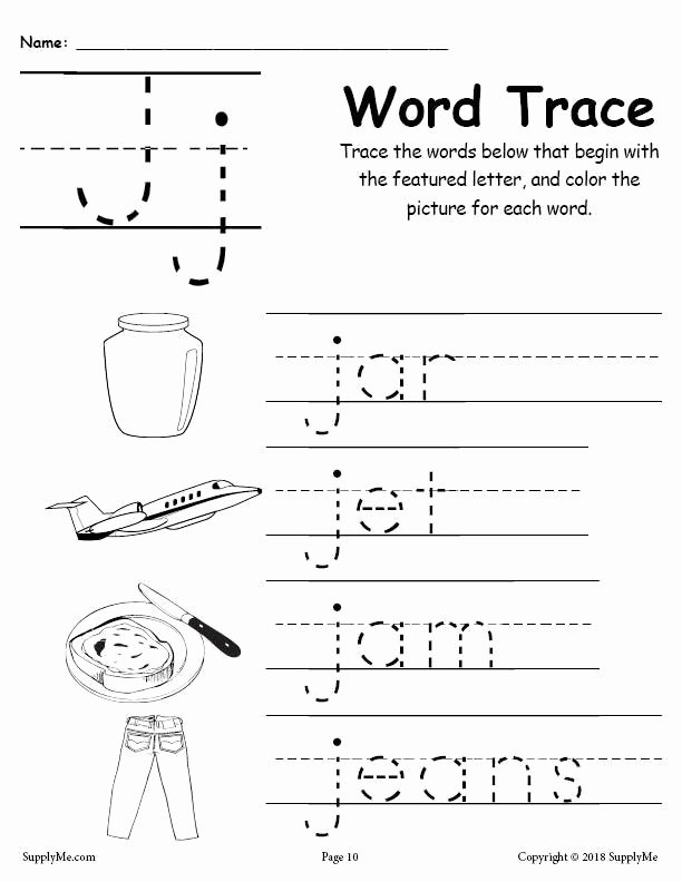 Letter J Worksheets for Preschoolers Fresh Letter J Words Alphabet Tracing Worksheet