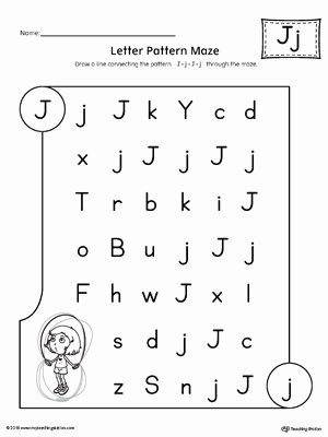 Letter J Worksheets for Preschoolers top Letter J Pattern Maze Worksheet