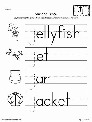 Letter J Worksheets for Preschoolers top Say and Trace Letter J Beginning sound Words Worksheet