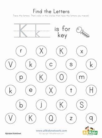 Letter K Worksheets for Preschoolers Awesome Find the Letter K Worksheet
