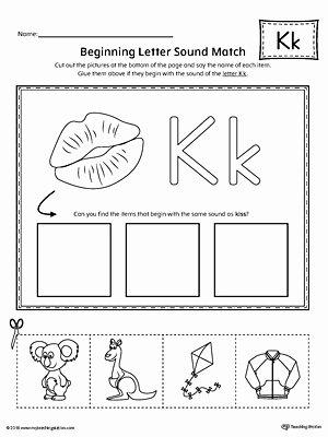 Letter K Worksheets for Preschoolers Awesome Worksheet Letter K Beginning sound Picture Match Worksheet