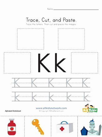 Letter K Worksheets for Preschoolers Lovely Trace Cut and Paste Letter K Worksheet