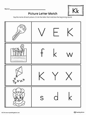 Letter K Worksheets for Preschoolers top Picture Letter Match Letter K Worksheet