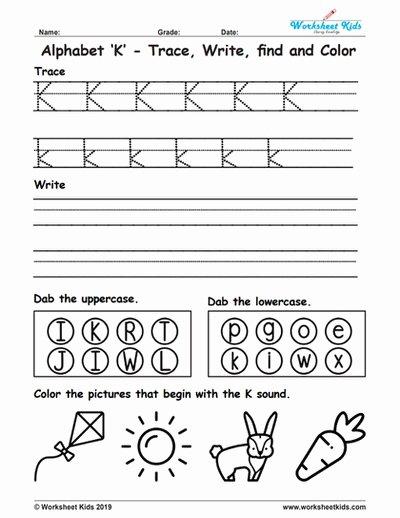 Letter K Worksheets for Preschoolers Unique Alphabet Letter K Trace Write Find Color Free Printable Pdf
