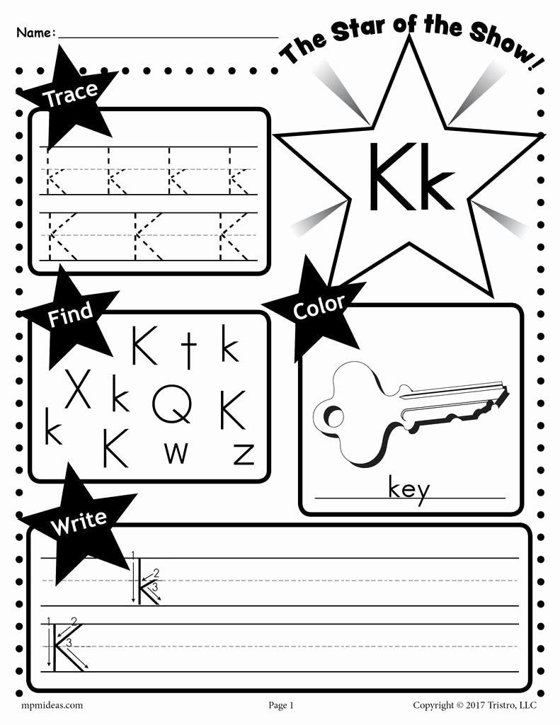 Letter K Worksheets for Preschoolers Unique Letter K Worksheet Tracing Coloring Writing & More