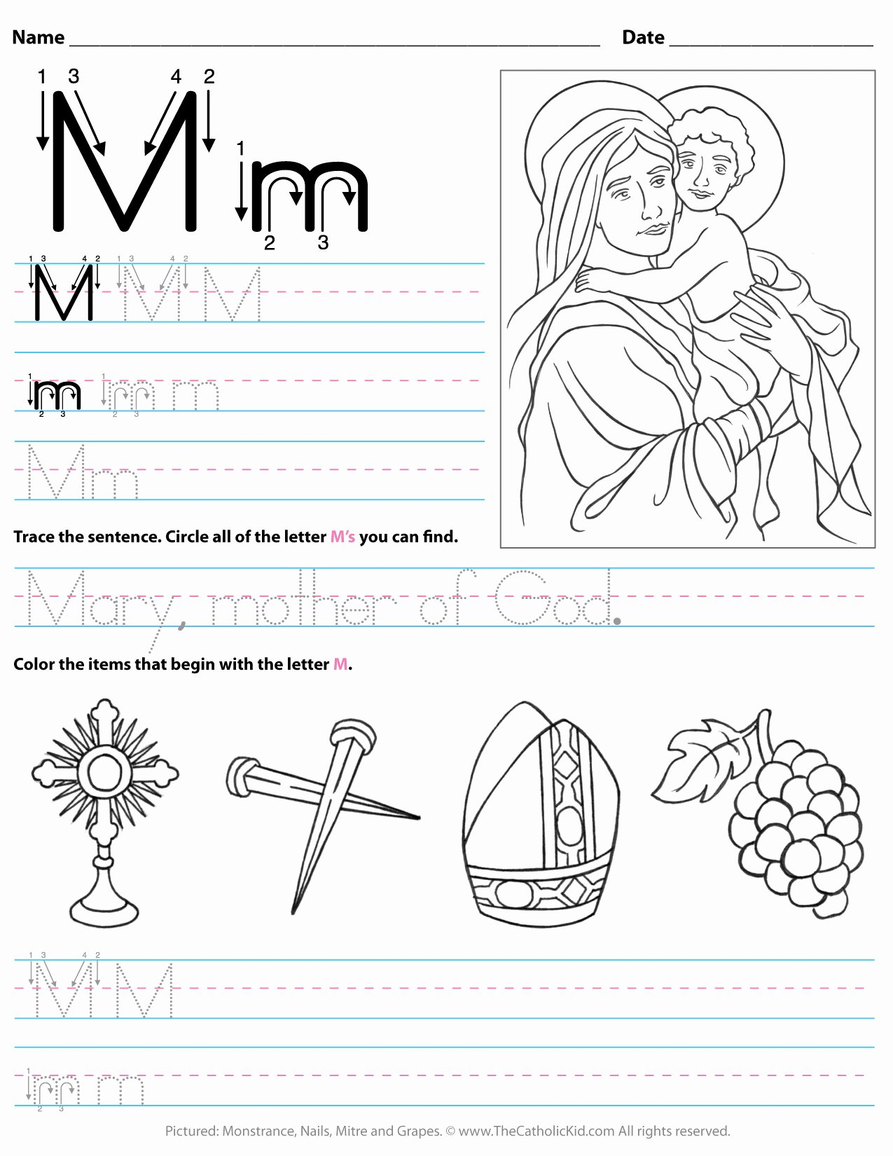 Letter M Worksheets for Preschoolers Beautiful Catholic Alphabet Letter M Worksheet Preschool Kindergarten