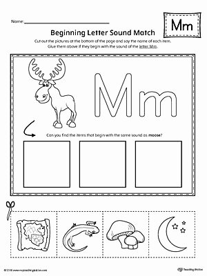 Letter M Worksheets for Preschoolers Inspirational Letter M Beginning sound Picture Match Worksheet
