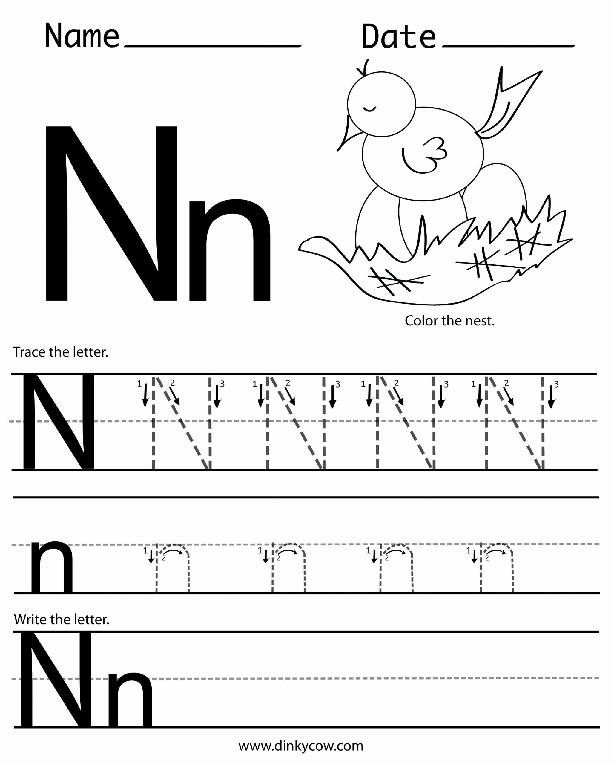 Letter N Worksheets for Preschoolers Inspirational N Free Handwriting Worksheet Print 2 400—2 988 Pixels