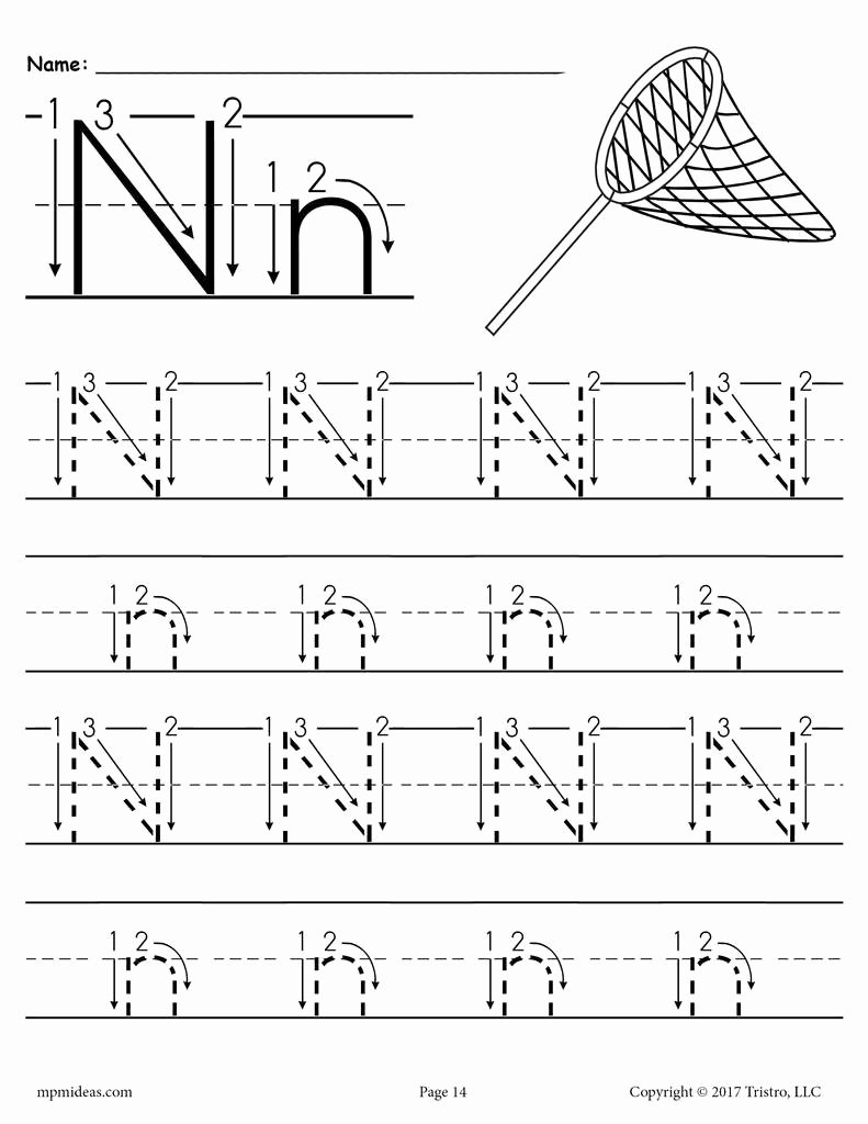Letter N Worksheets for Preschoolers Inspirational Printable Letter N Tracing Worksheet with Number and Arrow Guides