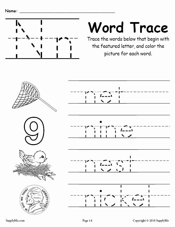 Letter N Worksheets for Preschoolers New Letter N Words Alphabet Tracing Worksheet