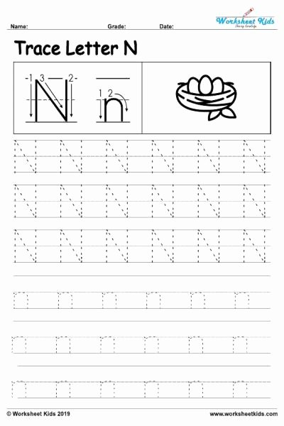 Letter N Worksheets for Preschoolers top Letter N Alphabet Tracing Worksheets Free Printable Pdf